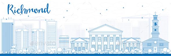Outline Richmond (Virginia) Skyline with Blue Buildings.  - Buildings Objects