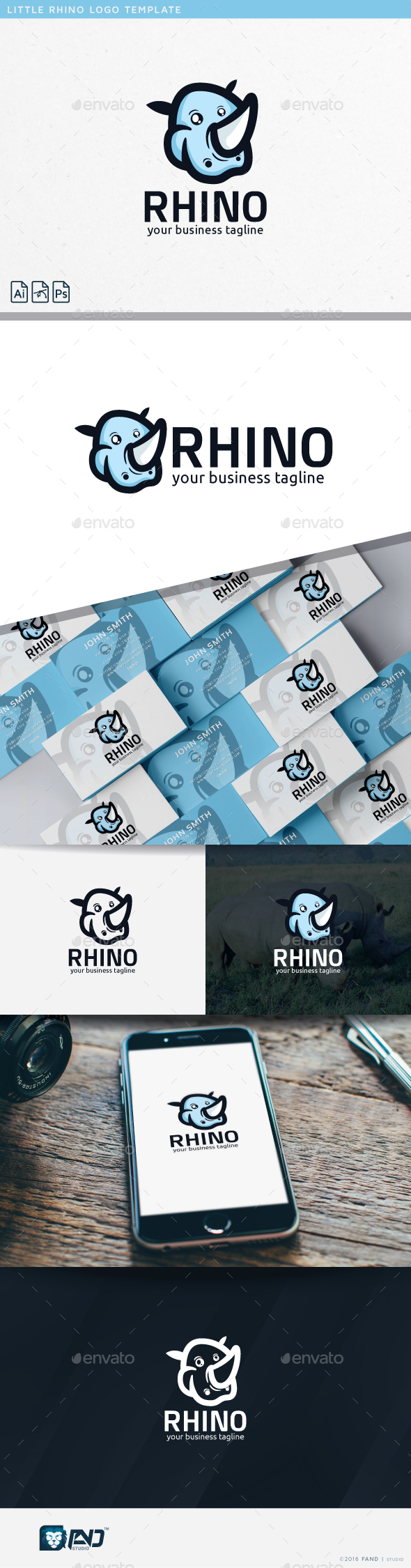 Little Rhino - Animals Logo Templates