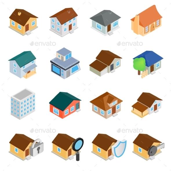 Houses Isometric 3d Icons Set - Web Icons