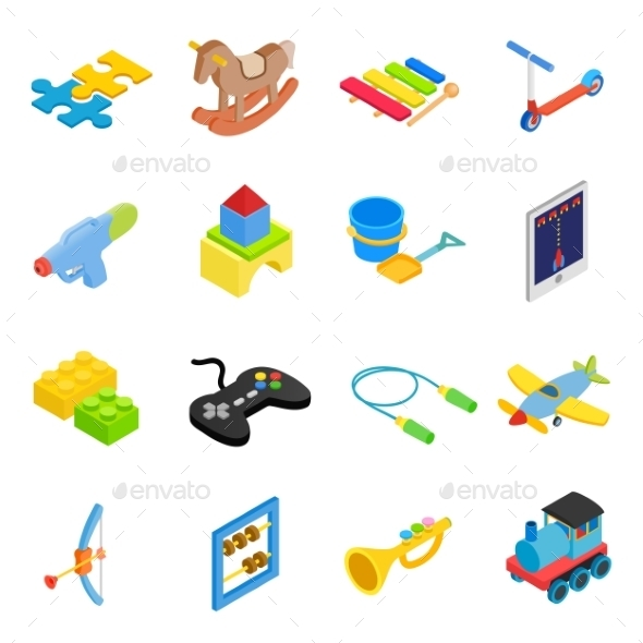 Toys Isometric 3d Icons Set - Web Icons