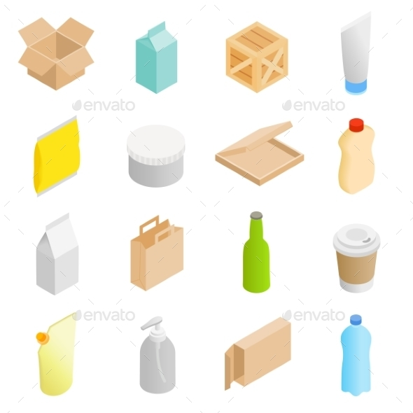 Packaging Isometric 3d Icons Set - Web Icons