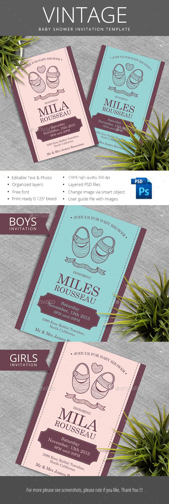 Vintage Baby Shower - Invitations Cards & Invites