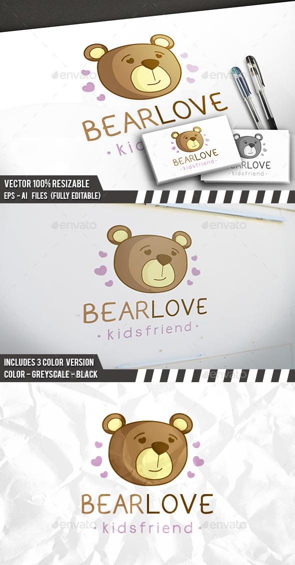 Bear Love Logo - Animals Logo Templates