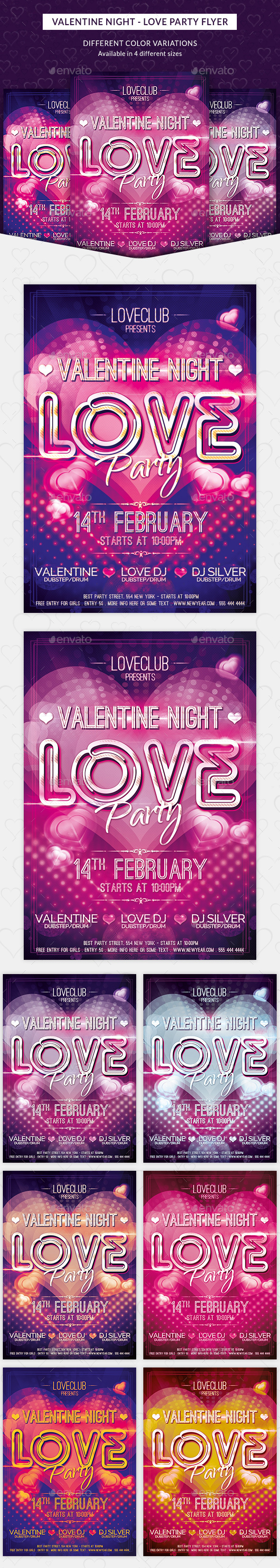 Valentine Night - Love Party Flyer - Clubs & Parties Events