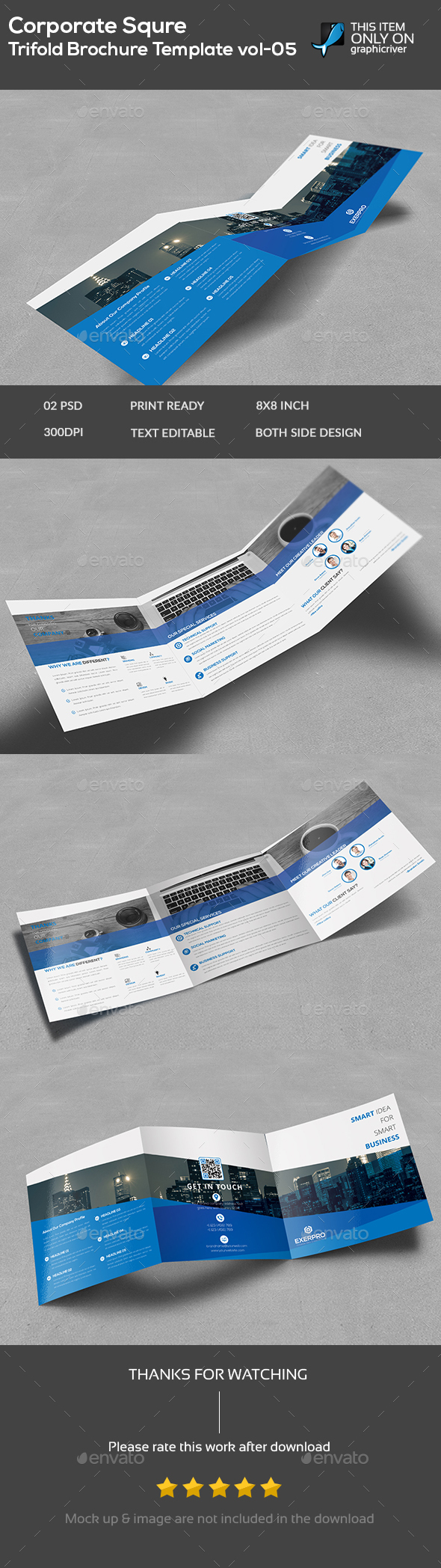 Corporate Square Trifold Brochure Template -05 - Brochures Print Templates