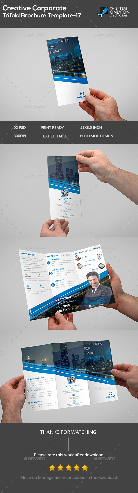 Creative Corporate Trifold Brochure Template -17 - Brochures Print Templates