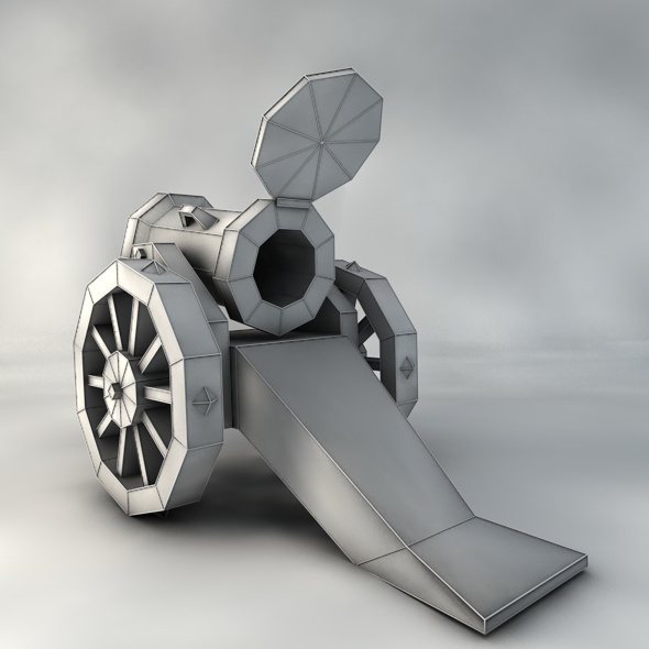 Low poly Cannon - 3DOcean Item for Sale