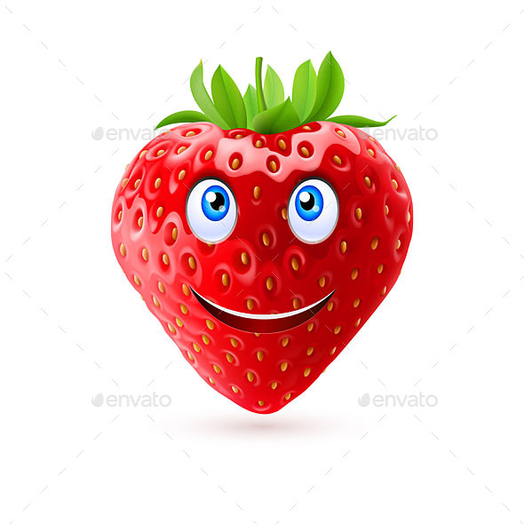 Cartoon Strawberry - Food Objects