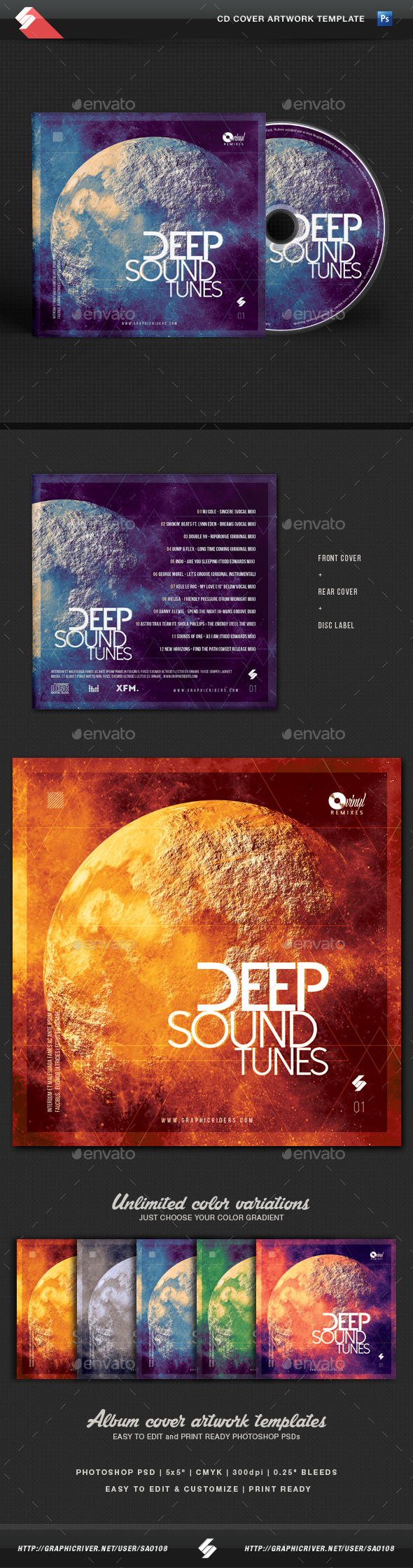 Deep Sound Tunes - CD Cover Template - CD & DVD Artwork Print Templates