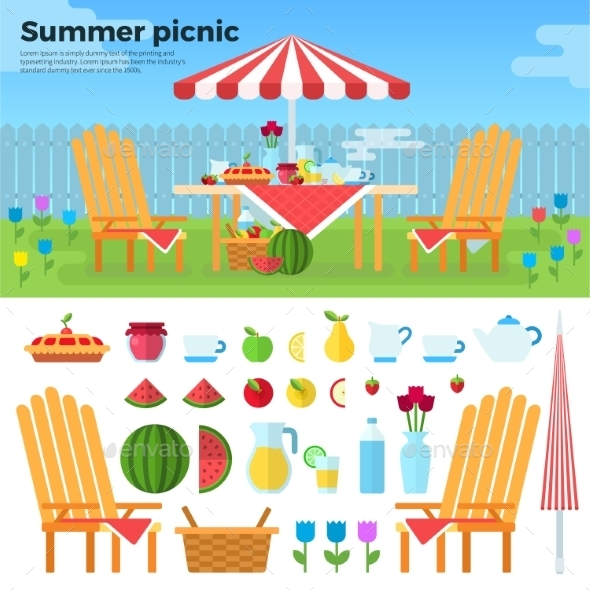 Summer Picnic And Icons Of Foods - Seasons/Holidays Conceptual