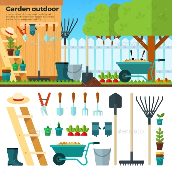 Summer Gardening Landscape In Cartoon Style - Flowers & Plants Nature