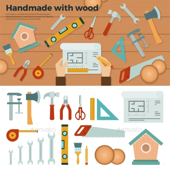 Tools For Handmade With Wood. Hobby Concept - Man-made Objects Objects