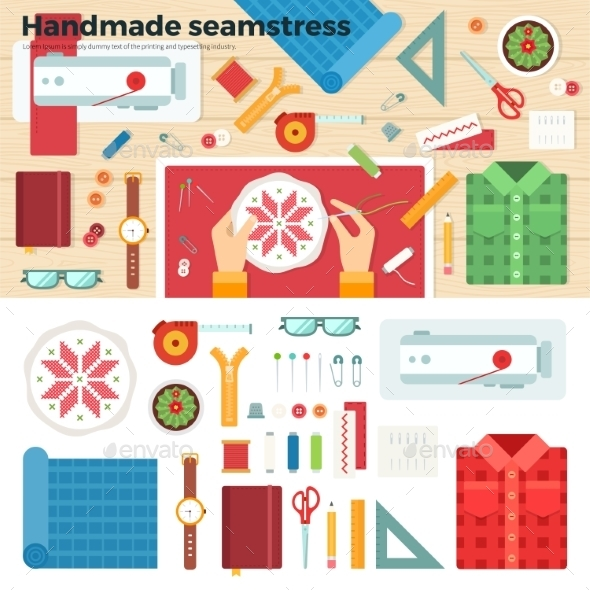 Tools For Handmade. Seamstress. Hobby Concept - Decorative Symbols Decorative