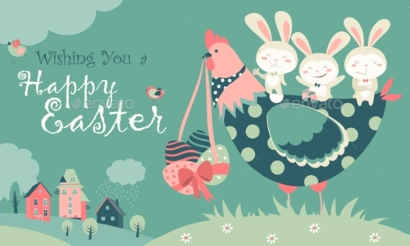 Easter Bunnies,chicken And Easter Eggs  - Seasons/Holidays Conceptual