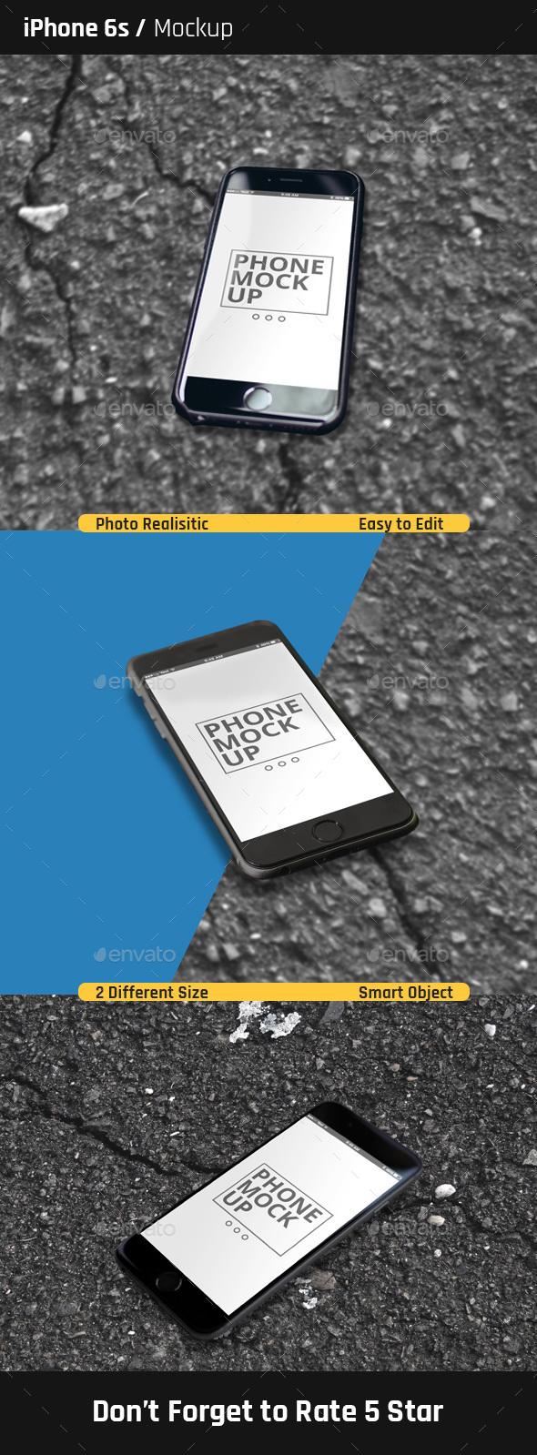 Simple iPhone 6s Mock-Ups  - Mobile Displays