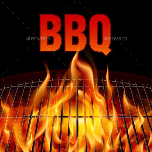 BBQ grill fire - Food Objects