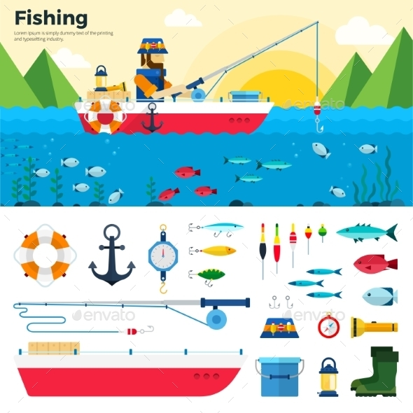 Banner Fisherman On Lake. Items Fishing Icon Set - Sports/Activity Conceptual