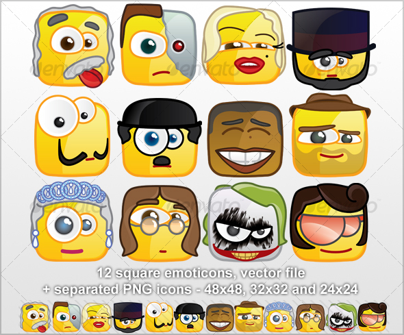 12 Square emoticons - Persons - Miscellaneous Characters