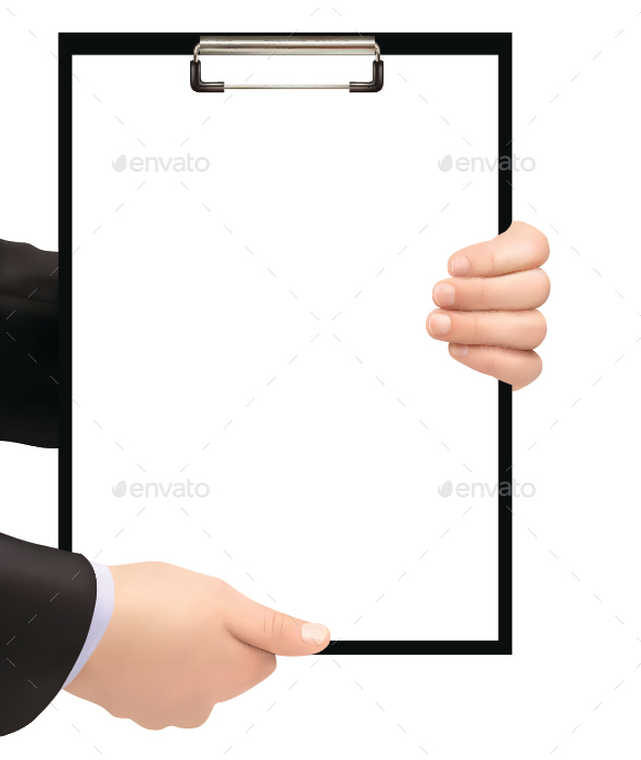 Businessman Holding Clipboard - Concepts Business