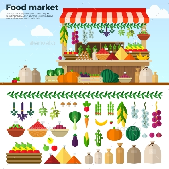 Healthy Food Market Of Vegetables, Fruits, Berries - Food Objects