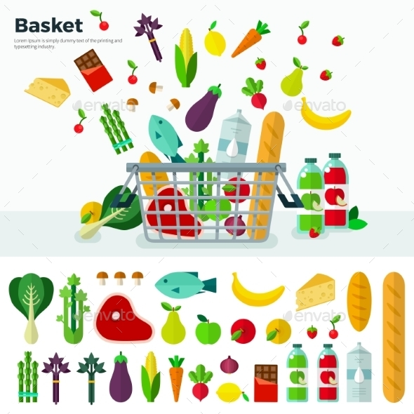Basket With Vegetables Banner And Icon Set  - Food Objects