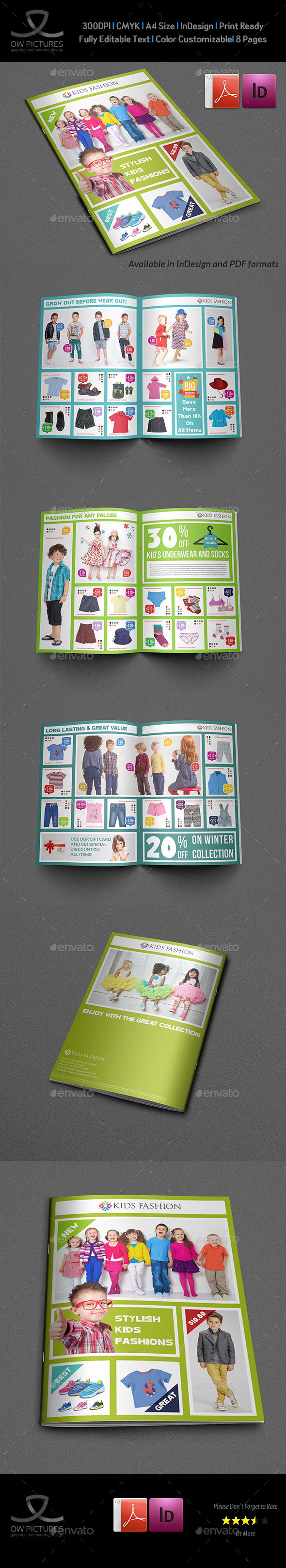 Kids Fashion Products Catalog Brochure Template - Catalogs Brochures