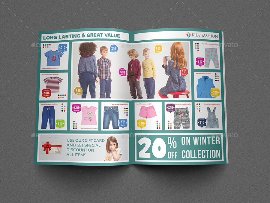 Kids fashion products catalog brochure template by owpictures kids fashion products catalog brochure template pronofoot35fo Images