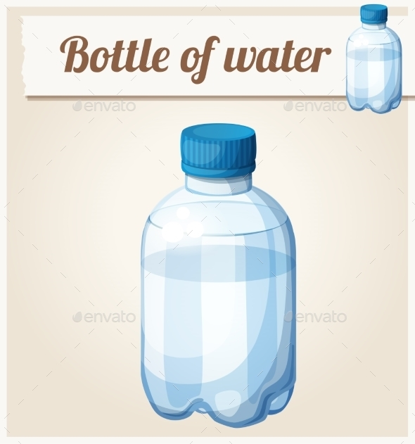 Bottle Of Water. Detailed Vector Icon - Food Objects