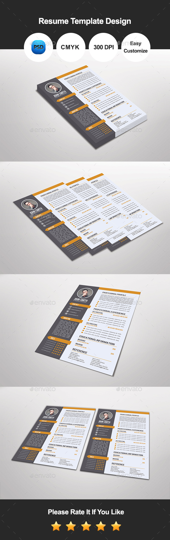 Dunlea Resume Template Design - Resumes Stationery