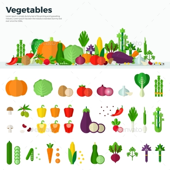 Banner Icons Of Vegetables Healthy Food - Food Objects