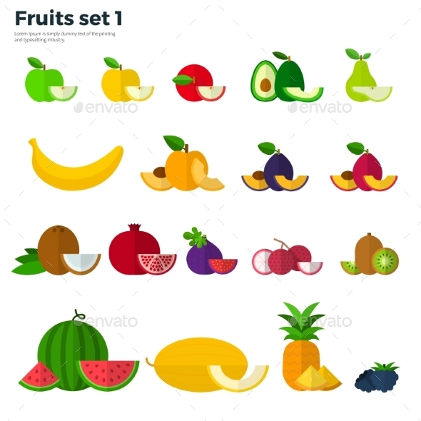 Healthy Eating Concept. Fruit And Slices On White  - Food Objects
