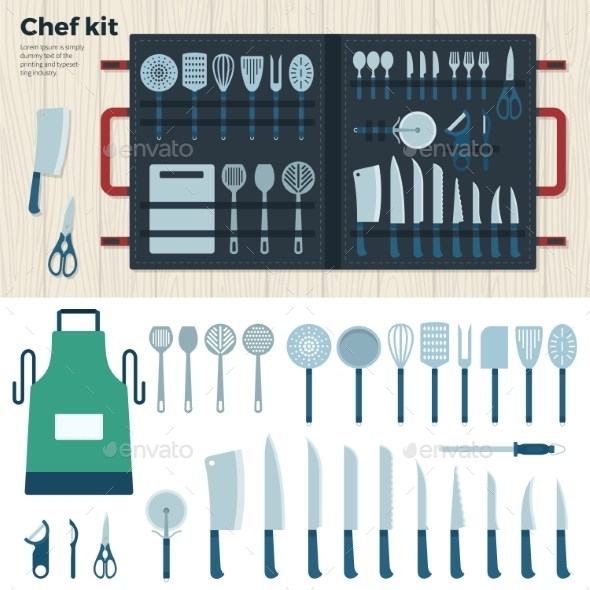 Modern Kitchen Tools For Cooking. Chef Kit - Objects Vectors