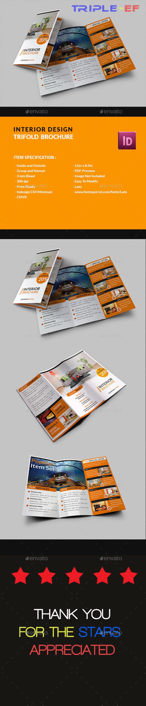Interior Design Trifold Brochure - Brochures Print Templates