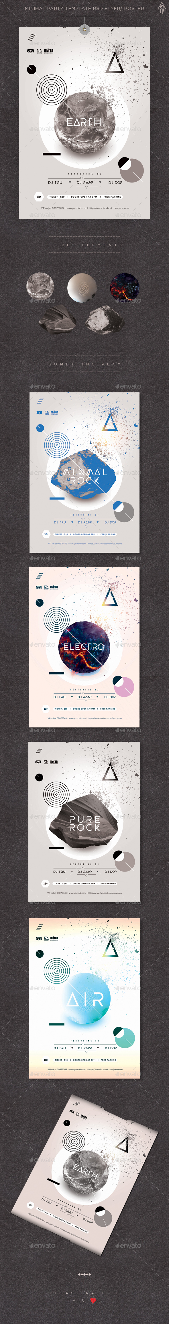 Minimal Party Template PSD Flyer/ Poster - Events Flyers