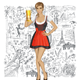 Vector Cute Woman In Drindl With Beer Against Love Background - GraphicRiver Item for Sale
