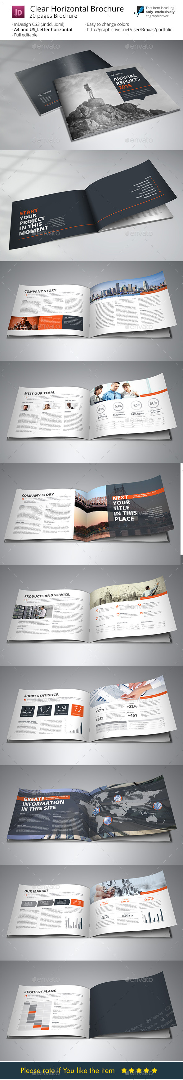 Clean Horizontal Brochure - Indesigne Template - Informational Brochures