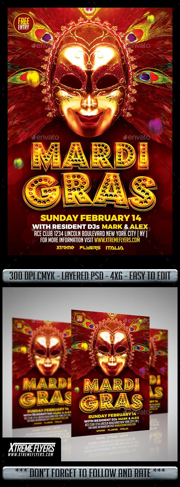 Mardi Gras Flyer - Events Flyers