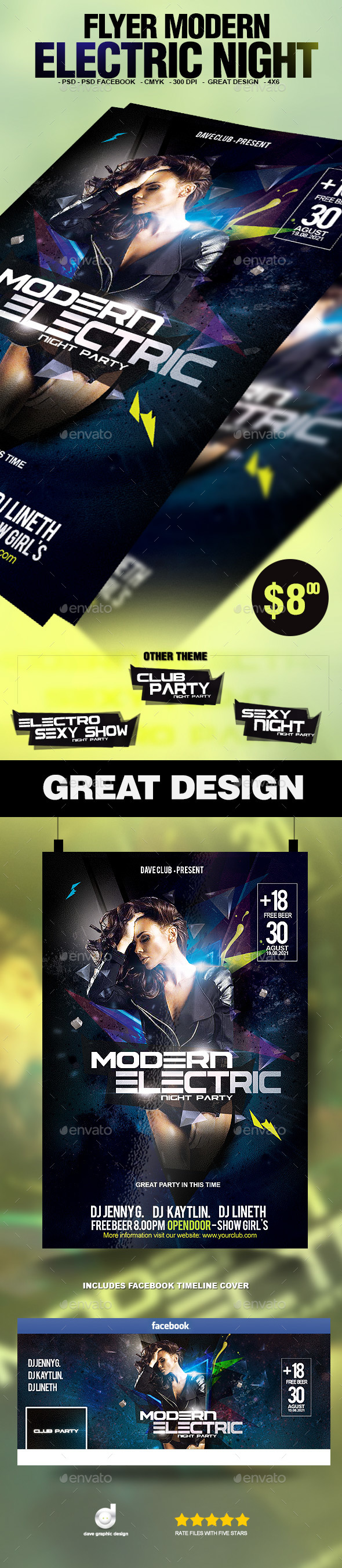 Flyer Modern Electric Night - Clubs & Parties Events