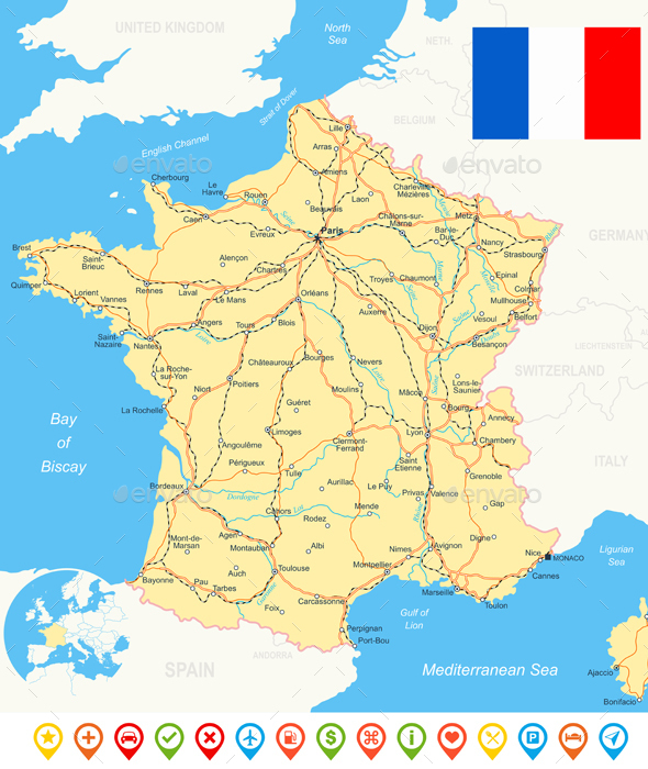 France Map, Flag, Navigation Icons, Roads, Rivers - Illustration. - Travel Conceptual