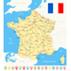 France Map, Flag, Navigation Icons, Roads, Rivers - Illustration. - GraphicRiver Item for Sale