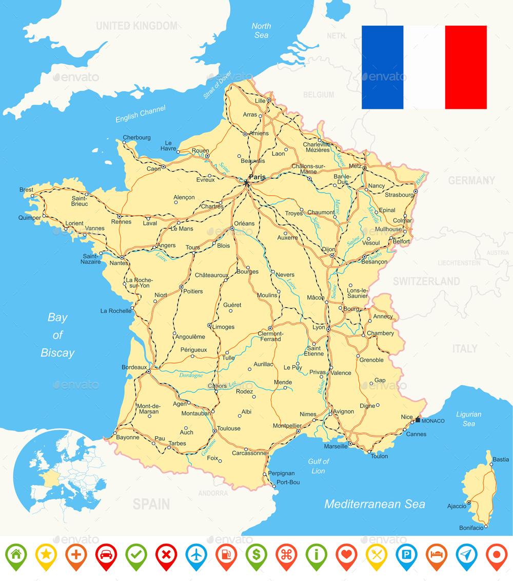 France Map Flag.France Map Flag Navigation Icons Roads Rivers Illustration By