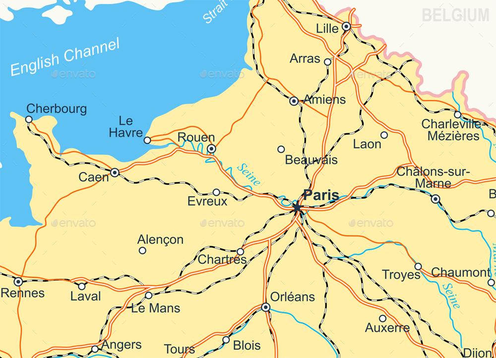 Map Of France Roads.France Map Flag Navigation Icons Roads Rivers Illustration