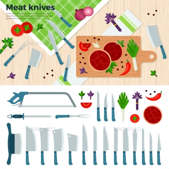 Modern Kitchen Knives For Meat And Vegetables - Food Objects