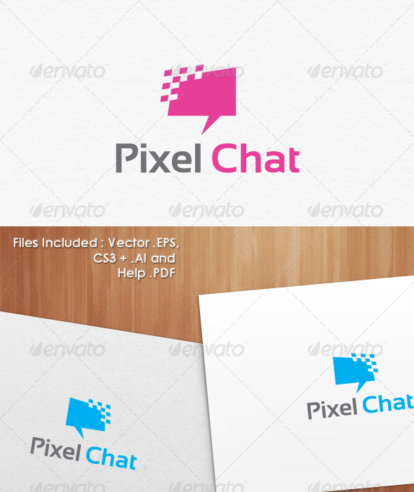 Pixel Chat Logo Template Design - Abstract Logo Templates