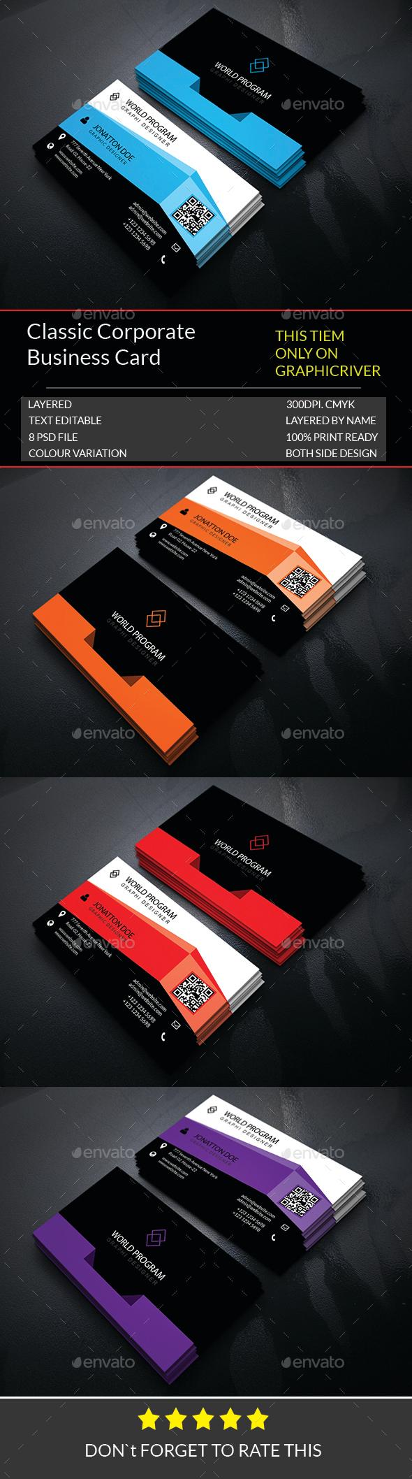 Classic Corporate Business Card Template.214 - Corporate Business Cards