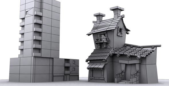 Low Poly Building Assets 5 - 3DOcean Item for Sale