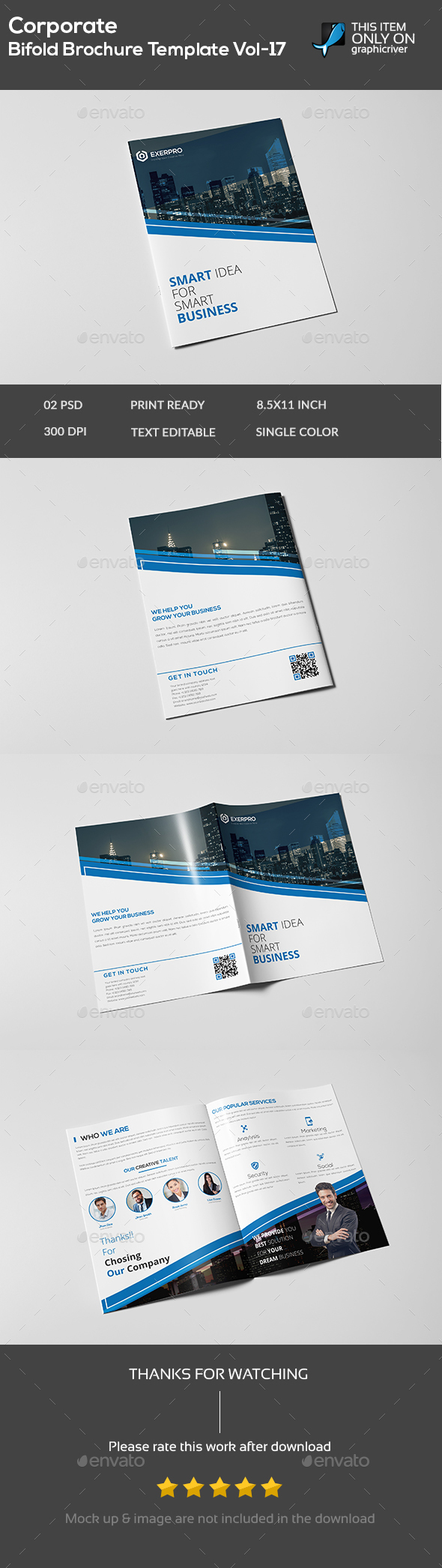 Corporate Bifold Brochure Template Vol-17 - Brochures Print Templates