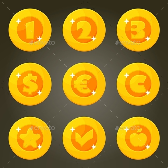 Cartoon Gold Coins With Currency Emblems - Man-made Objects Objects
