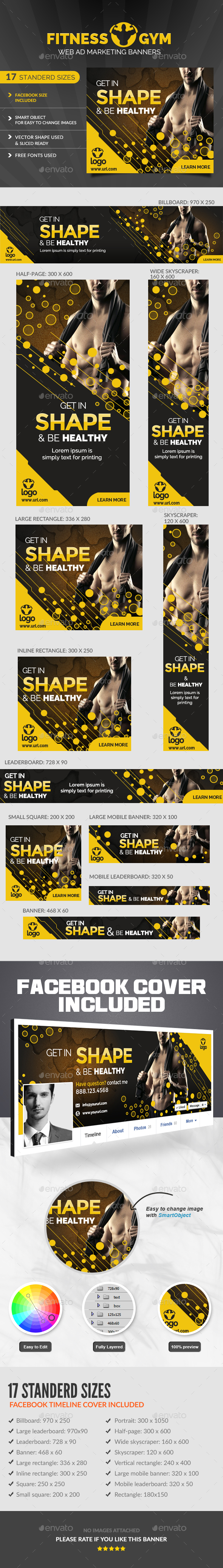 Fitness Ad Banners  - Banners & Ads Web Elements