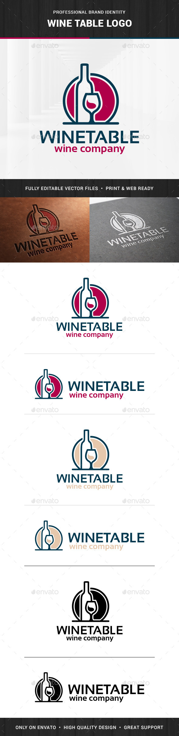 Wine Table Logo Template - Objects Logo Templates